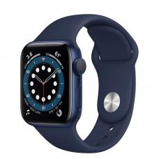 Apple Watch Series 6, 40 mm, Корпус из алюминия синего цвета, спортивный ремешок «Тёмный ультрамарин»