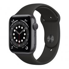 Apple Watch Series 6, 44 mm, Корпус из алюминия цвета «серый космос», спортивный ремешок чёрного цвета
