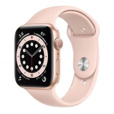 Apple Watch Series 6, 44mm, Корпус из алюминия золотого цвета, Спортивный ремешок розовый песок