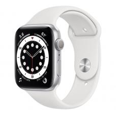 Apple Watch Series 6, 44 mm, Корпус из алюминия серебристого цвета, спортивный ремешок белого цвета