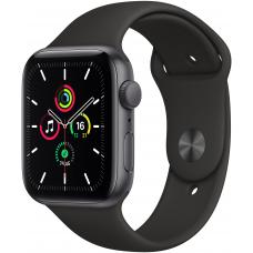 Apple Watch SE, 40 mm, Корпус из алюминия цвета «серый космос», спортивный ремешок чёрного цвета