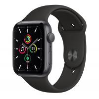 Apple Watch SE, 44 mm, Корпус из алюминия цвета «серый космос», спортивный ремешок чёрного цвета