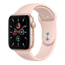 Apple Watch SE, 44mm, Корпус из алюминия золотого цвета, Спортивный ремешок розовый песок