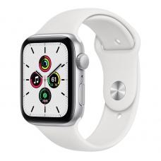 Apple Watch SE, 44 mm, Корпус из алюминия серебристого цвета, спортивный ремешок белого цвета